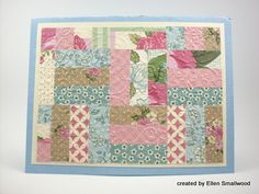 handmade quilt card ... luv this paper assorment ... simple paper of squares made up of three strips ... Stampin' Up!