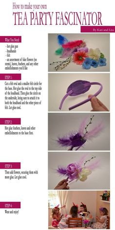 Tea Party Fascinator for Party Favors Tea Party Crafts, Tea Party Favors, Craft Party, Tea Party Activities, Tea Party Games, Activities For Girls, Hat Crafts, Kids Crafts, Girls Tea Party