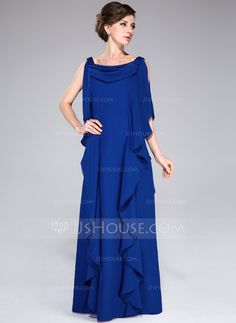 A-Line/Princess Cowl Neck Floor-Length Chiffon Mother of the Bride Dress With Beading Sequins Cascading Ruffles (008040843)