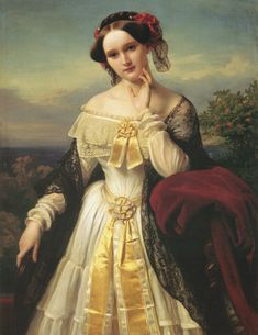 """Portrait of Mathilde Wesendonck  1850  by Karl Ferdinand Sohn (German, 1805-1867)  Stadtmuseum Bonn"""