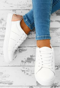 Miss Minx White Diamante Wink Face Trainers | Pink Boutique
