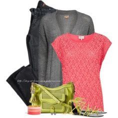 Coral, Lime + Grey
