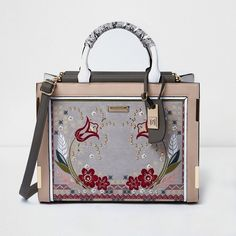 River Island Beige floral print stud detail tote bag ($100) ❤ liked on Polyvore featuring bags, handbags, tote bags, bags / purses, beige, shoppers / tote bags, women, studded tote bag, tote handbags and man bag