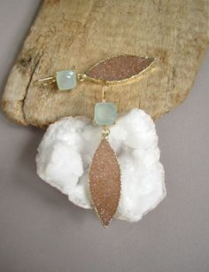 Copper Druzy Earrings Druzy Quartz Marquis Drops Sea Green Chalcedony Gold Vermeil via Etsy