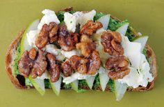 Vegetable Matter: Panini with Anjou Pears, Brie, Caramelized Walnuts and Arugula Pesto Mayo