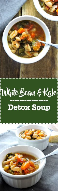 White Bean and Kale Detox Soup is the perfect comfort food to get you back on track. White Beans, kale, veggie broth, and tomatoes come together for a warm, comforting and nourishing meal. |FreshFitKitchen.com