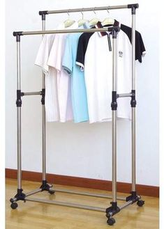 ProSource Premium Heavy Duty Double Rail Adjustable Telescopic Rolling Clothing and Garment Rack: Adjustable Garment Rack provides easy access to shirts, pants, jackets or other apparel. Lower rack is ideal for shoes! Rolling Clothes Rack, Rolling Rack, Closet Storage, Closet Organization, Organizing, Organization Station, Garment Racks, Store Fixtures, Hanging Racks