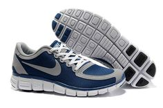 Mens Nike Free 5.0 V4  Running Shoe Navy Wolf Grey