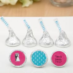 Delectable creamy chocolates are irresistible and you can now personalize the exclusive Hershey's® Kisses® Range with a sticker to match your event! Edible Favors, Edible Wedding Favors, Personalized Chocolate, Hershey Chocolate, Hershey Kisses, Shower Gifts, Make It Yourself, Chocolates, Tableware