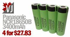 Panasonic NCR18650B 3400mAh Batteries on Amazon