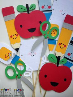Back to School Party Picks  Set of 12 by ShowersBringFlowers, $18.00