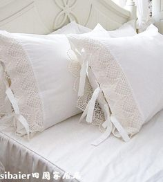 Lace edge and tied shams - lovely!