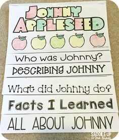 Johnny Appleseed is a classroom favorite. My students love learning all about him with this fun interactive flip book and comprehension booklet. Your class will love these activities.