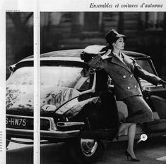 Jean Newington in gray wool double breasted suit, the long jacket elegantly proportioned has a large collar with pointed lapels covers the shoulders, by Maggy Rouff, photo by Pottier, 1959 Citroen Ds, Psa Peugeot Citroen, Manx, Bw Photography, Fashion Photography, Automobile, Classy Cars, Vintage Motorcycles, Car Girls