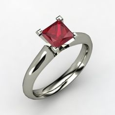 10,113.00 A shapely band rises to meet the center stone in this perfectly simple princess-cut solitaire ring.