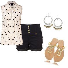 Love the high waist shorts & polka dots!