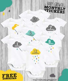"""I added """"Cloud & rain drops baby growth monthly stickers """" to an #inlinkz linkup!http://storkcoming.blogspot.it/2013/09/free-onesie-month-by-month-stickers.html"""