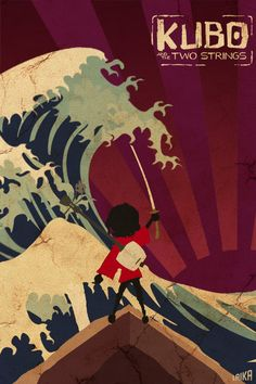 Kubo and the Two Strings - Minimalist Minimal Movie Poster Print - Laika Red - Kulascapes