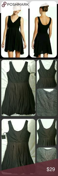 Jack BB DAKOTA Winona lacy Bodice Drapey Dress Bnwt  Msrp  $68 **pls look at all pics esp LAST PIC..**HAS A SEAM SEPARATION AT THE ZIPPER...SHOULD BE RELATIVELY EASY FOR SEAMSTRESS AS SEAM THAT ATTACHED TO ZIPPER OR MAYBE U HAVE SKILLZ,SADLY I DO NOT ** PICS ASO MODEL ARE ON MODEL BACKWARDS!! LOLOL I GUESS U COULD WEAR W/DEEP VEE ON FRONT BUT TAGS WILL BE ON FRONT!!** BLACK COLORWAY SZ SMALL Description from POLYVORE & measurements can be found in comms..continued in comms. Reasonable offers…