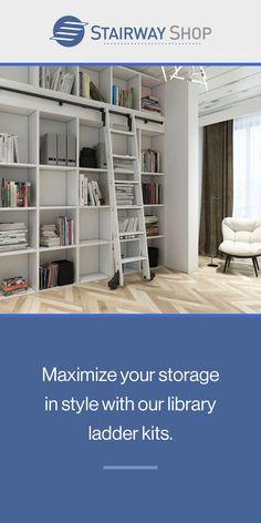 Home Library Design, Family Room Design, Home Interior Design, Bookshelves, Bookcase, Library Ladder, Urban Rustic, Reading Nook, Treehouse