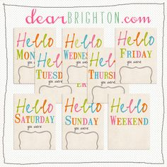 Free for PL: hello weekday and weekend cards by Brighton