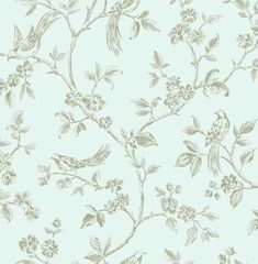 Shabby Chic Birds Duck Egg Blue Gold Floral Feature Wallpaper Lovely and elegant. Not too loud but simply gorgeous Feature Wallpaper, Bird Wallpaper, Wallpaper Samples, Black Wallpaper, Wallpaper Roll, Pattern Wallpaper, Wallpaper Ideas, Kitchen Wallpaper, Grey Wallpaper With White Flowers