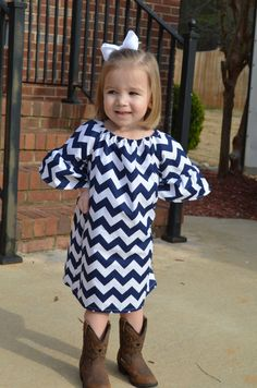 Navy Chevron Dress. too adorable ESP with the boots!