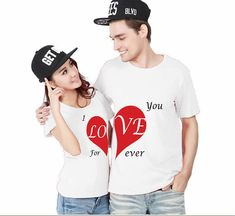Love You Forever Couple T-Shirts Set Fashion Matching Couple Shirts T-shirt Couple, Couple Tees, Matching Couple Shirts, Matching Couples, Matching Outfits, Matching Clothes, Couple Goals, Beaux Couples, Romantic Couples