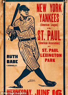 The poster found inside of a wall in a Minnesota home (left) / Babe Ruth in 1934
