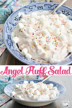 Stir together this sweet and delicious Angel Fluff Cool Whip Fruit Salad in just 5 minutes! Its the perfect make ahead light dessert or easy side dish recipe for any special occasion. Fluff Desserts, Jello Recipes, Dessert Recipes, Salad Recipes, Baking Desserts, Dessert Salads, Fruit Salads, Jello Salads, Fruit Fruit