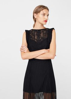 Blond-lace jersey dress