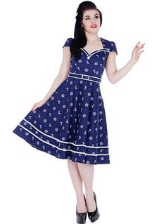 Rockabilly Style Inspiration - Cast Away Nautical Navy Flared Retro Dress By shopplasticland.com