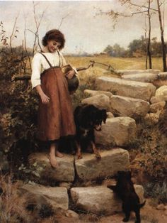 """The first Step"" (1885) von George Hillyard Swinstead (1860-1926), britischer Maler."