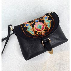 Handbag embroidered, black, top handle bags, classic bags, ornaments,... ($89) ❤ liked on Polyvore featuring bags, handbags, embroidery bags, embroidery purse, embroidery handbags, top handle bags and embroidered bag