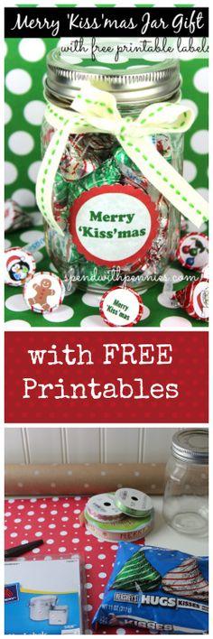 Merry 'Kiss'mas Jar Gift! Cute for teachers gifts! FREE printable!