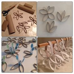 DIY - Flower decorations made from toilet rolls.