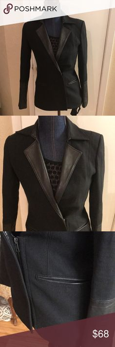Blazer Black blazer with leather trimming on the arms and the neck  By Helmut Lang size 0 Helmut Lang Jackets & Coats Blazers
