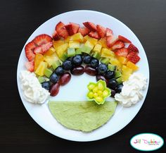 meet the dubiens blog    rainbow - sliced strawberries, oranges, pineapple, kiwi, blueberries and grapes  whipped cream clouds for dipping the fruit in  grass - spinach tortilla with veggie cream cheese  pot of gold aka yellow jelly beans