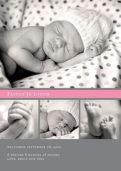 Collage Birth Announcement -- Simply Sweet