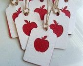 Tags for Teacher... Red Checkered Apples and Kraft paper Small Gift tags...