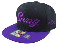 New Vintage Swag Flat Bill Snapback Baseball Cap Hat Black Purple | eBay