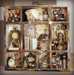 My shadow box is ready! I started it two weeks ago . My shadow box is ready! I started it two weeks ago, then I had to take a big break … - Diy Shadow Box, Shadow Box Frames, Altered Boxes, Altered Art, Assemblage Kunst, Shadow Box Kunst, Art Altéré, Cadre Diy, Steampunk Crafts