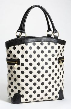 Betsey Johnson 'Spot On' Tote I so polka dots! Dots Fashion, Fashion Bags, Fashion Shoes, Fashion Accessories, Girl Fashion, Betsey Johnson, Clutch Bag, Crossbody Bag, Mode Style