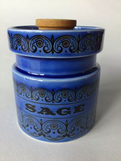 Hornsea Pottery Scroll Sage Storage Pot
