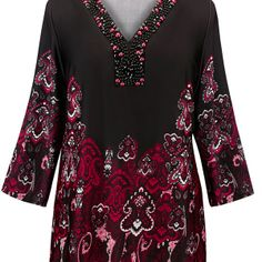 Beaded Border Print Tunic Top-Long Plus Size Top-Avenue.  $48