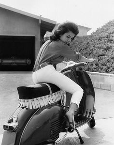 Annette Funicello, on a tricked out Vespa.