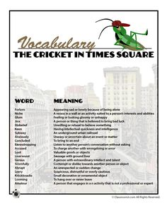 cricket in times square book report Chester the cricket unexpectedly finds himself in new york city where his  adventure begins your students will love reading about chester's adventures in  the.