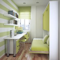 Great small space office/bedroom. Those are bunk beds! Love the color green she used.
