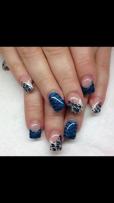 Blue Glitter Tip Nails
