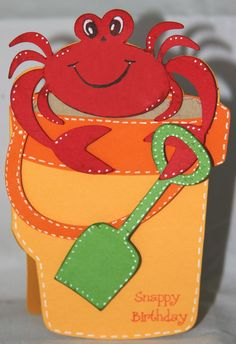 """Snappy Birthday"" (Life's A Beach Cricut Cartridge) Cricut Birthday Cards, Cricut Cards, Scrapbook Paper Crafts, Scrapbook Cards, Preschool Art Projects, Nautical Cards, Beach Cards, Shaped Cards, Card Making Inspiration"